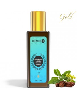 BrownBoi Pure Cold Pressed Gold Jojoba Face Oil For Glowing Skin Lightening & Brightening With Moisturizing Rejuvenating Effects