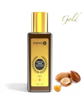 BrownBoi BBGOLD Pure Cold Pressed Moroccan Argan Oil For Frizzy Dry & Coarse Hair & Sensitive Skin Care (50ML)